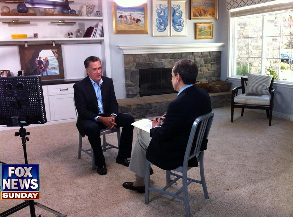 Mitt Romney spoke with Fox News Sunday host Chris Wallace from the home of Romney's son in San Diego.