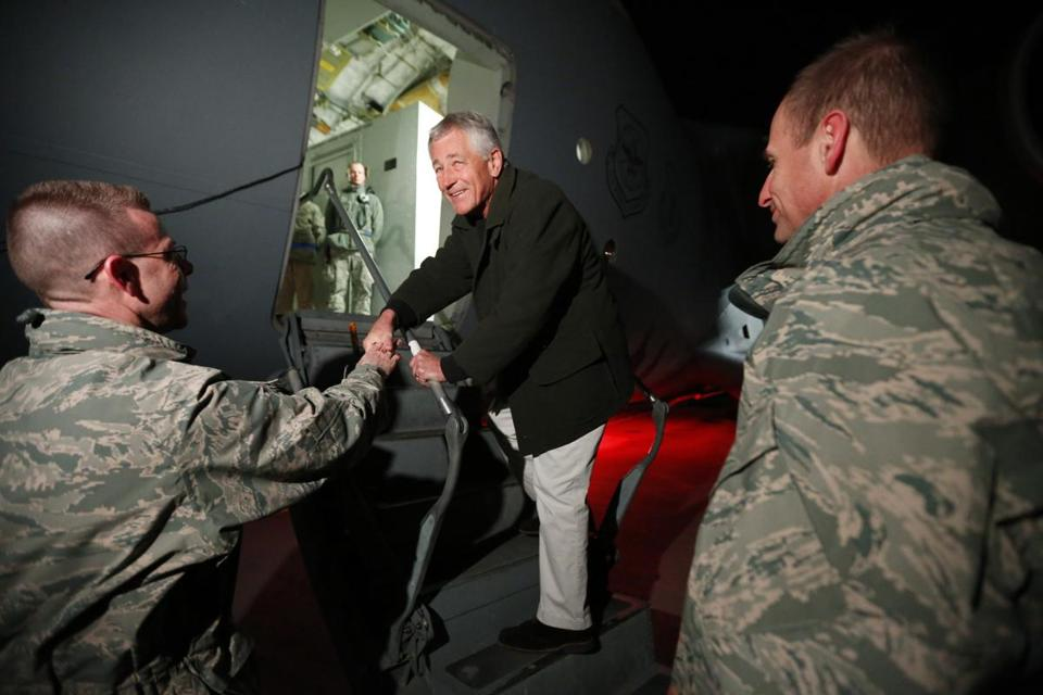 Chuck Hagel, shown getting on a military plane Friday, has visited Afghanistan four previous times.