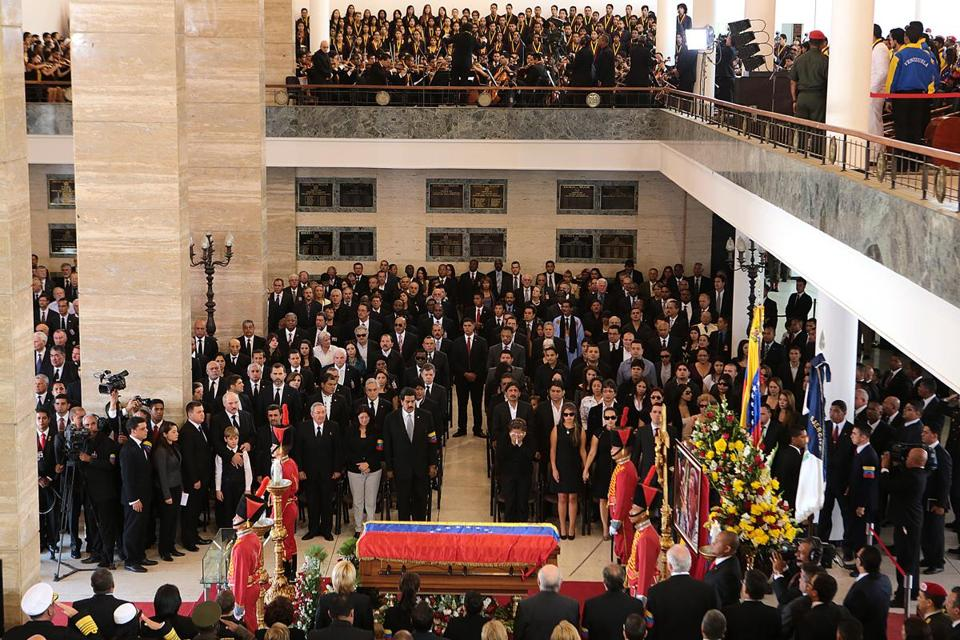 Hugo Chavez's funeral service was held in Caracas. His body will be displayed in a glass coffin.