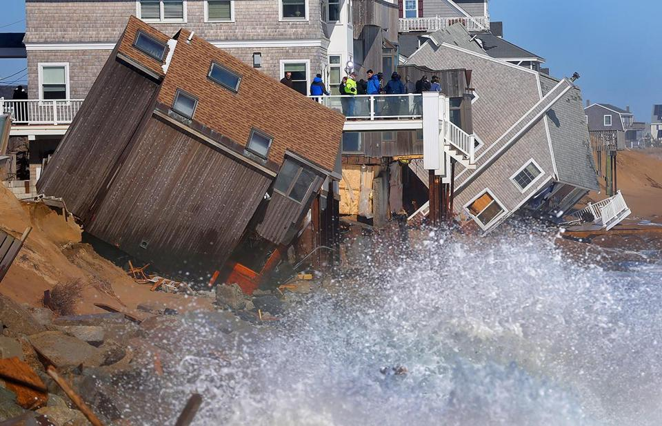 Friday's storm left houses collapsed off their foundations on Plum Island.