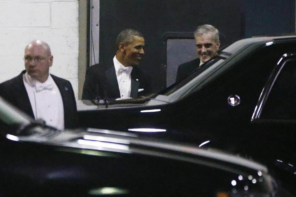 President Obama departed the Gridiron dinner with Chief of Staff Denis McDonough, right.