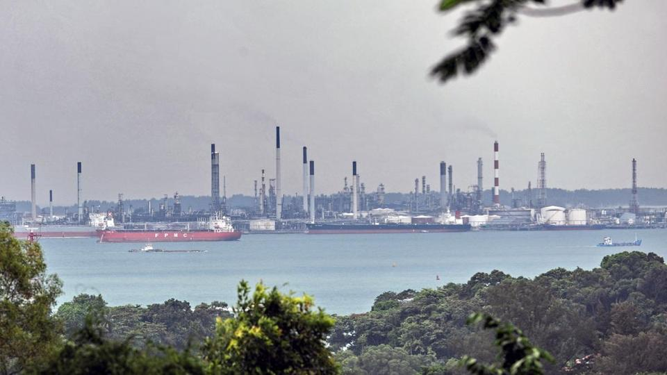 The Shell refinery on Pulau Bukom, off Singapore. Oil has shown a gain of nearly 2 percent in recent trading sessions.