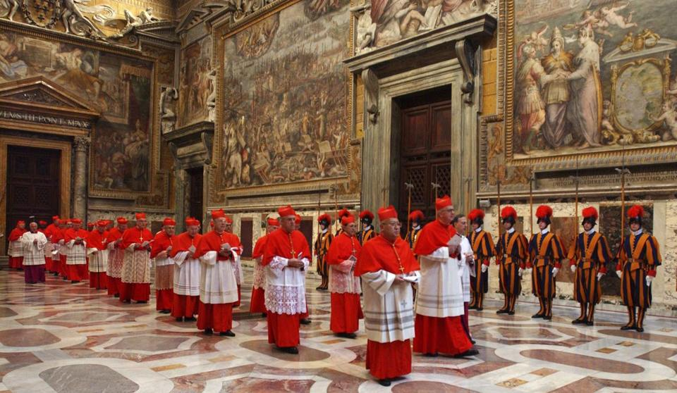 Cardinals walked in procession to the Sistine Chapel at the Vatican for the conclave to elect the new head of the Roman Catholic Church in 2005.