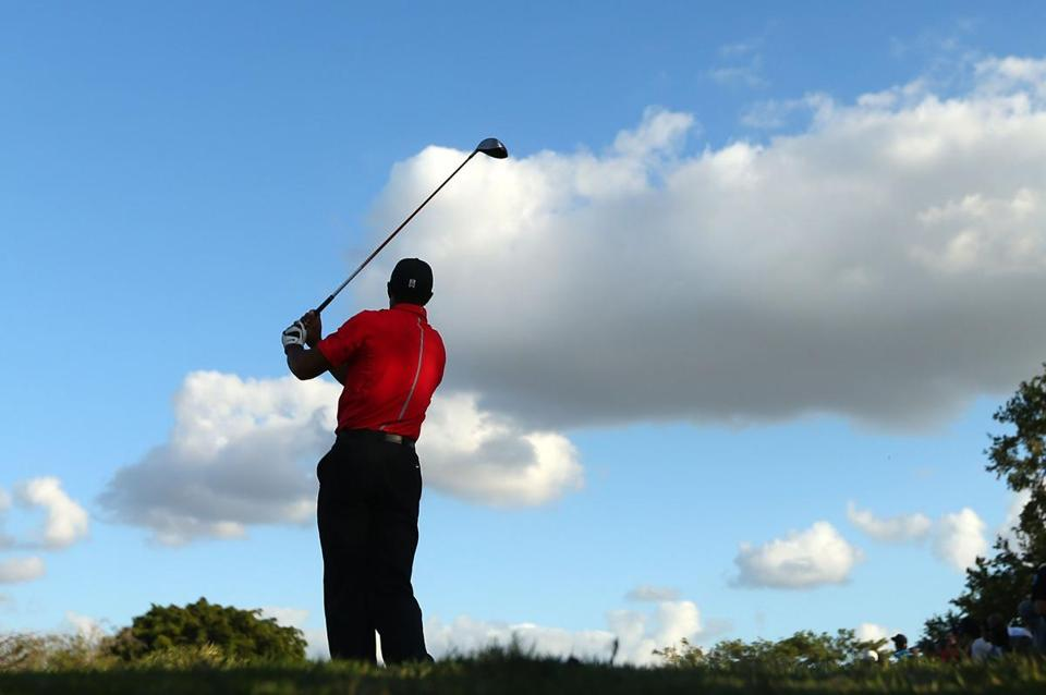 Tiger Woods hit his tee shot on the 17th hole during the final round at Doral.