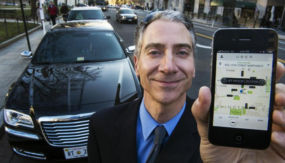 Peter Faris, CEO of Szabo Faris LLC Transportation Solutions,  works with Uber, a technology firm which has created a mobile app which allows consumers to use their device to request a nearby limousine.