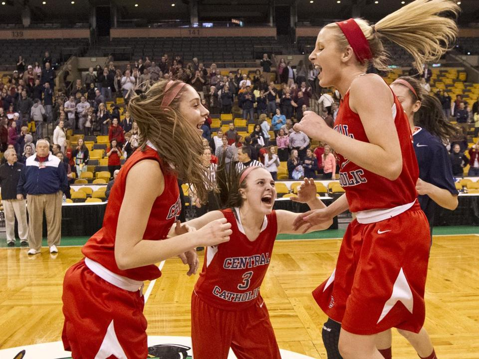 From left, Amanda Williams, Alexandra Nagri, and Casey McLaughlin jump for joy after Central Catholic earned a spot in the state final.
