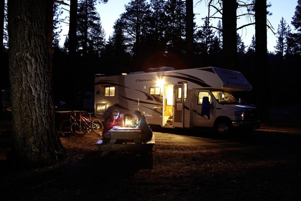 Spend time outside your RV where you stay — at the picnic table, exploring the campground, around the fire at night.