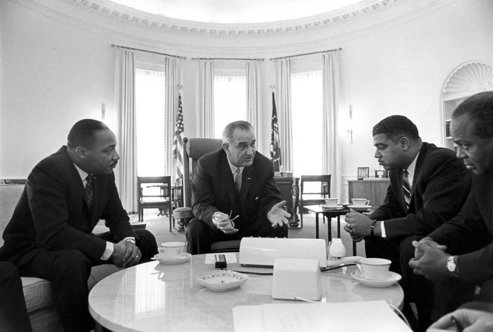 "Martin Luther King Jr. and President Lyndon Johnson at a White House meeting on civil rights in1964. Both are characters in ""All the Way.''"