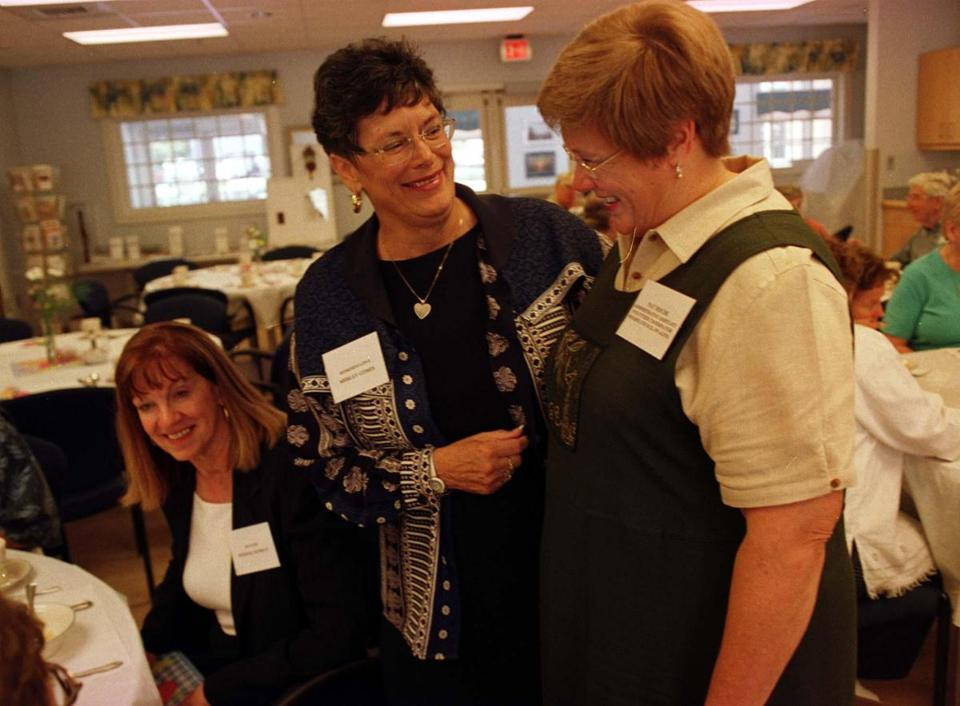 Aug. 27, 2004: Shirley Gomes, center, shared a laugh with Pat Houde of the Bourne Council on Aging (right) at a lunch in Buzzards Bay. Therese Murray sat at left.