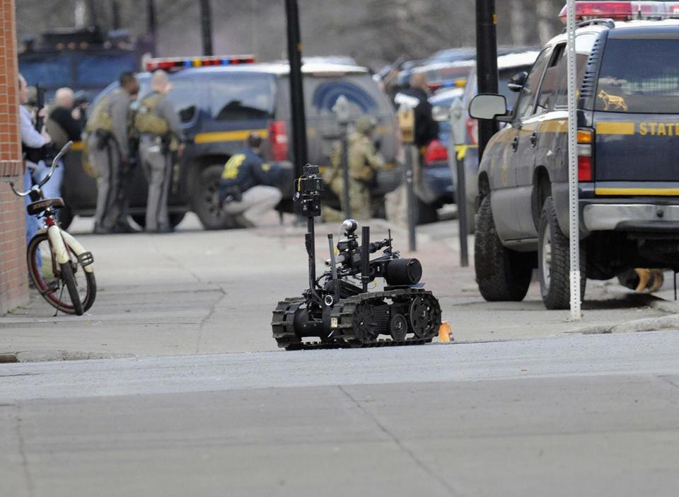 Police dispatched a robotic camera while searching for Kurt Meyers on Wednesday in Herkimer, N.Y.