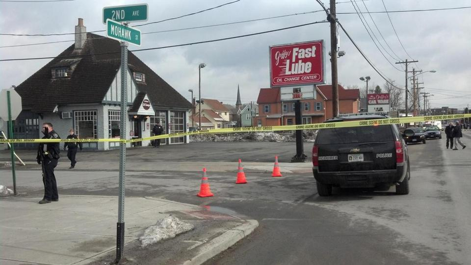 Emergency crews worked at the scene of a shooting at Gaffey's car wash in the village of Herkimer, N.Y.