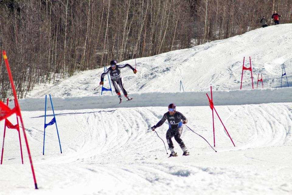 A dual-slalom format enables racers to go head to head with their competition.