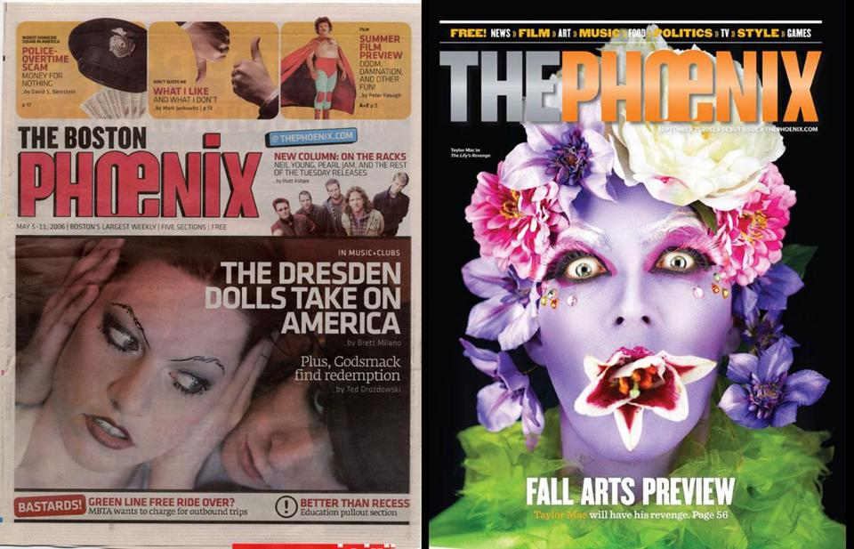 The Boston Phoenix in 2006 (left) and the redesigned The Phoenix in 2012.