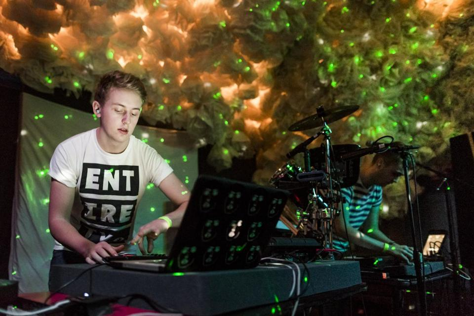 Guy (left) and Howard Lawrence of Disclosure performing in Brooklyn, N.Y.