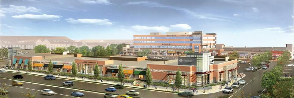 A rendering of Chestnut Hill Square, which will include the high-end Wegmans, a  specialty grocery store chain .