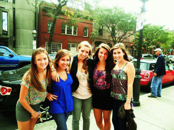 Wayland High friends (from left) Chloe Jacques, Ariel Chates, Genevieve Flynn, Hannah Blahut, and Lauren Astley posed for a photo on September 2010. Astley was killed July 3, 2011, but her friends want to remember the happy times.