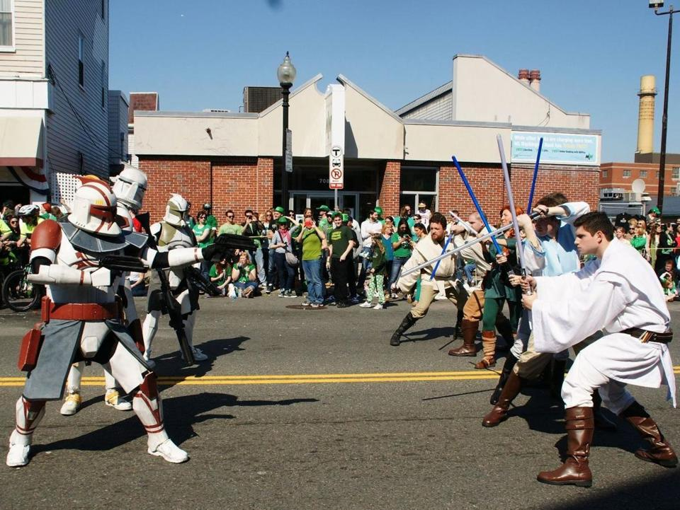 Clone troopers and Jedi knights will probably face off in the St. Patrick's Day Parade this year, as they did above in 2012.