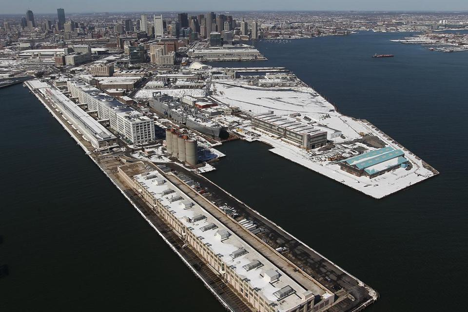 An aerial view of Boston's Marine Industrial Park.