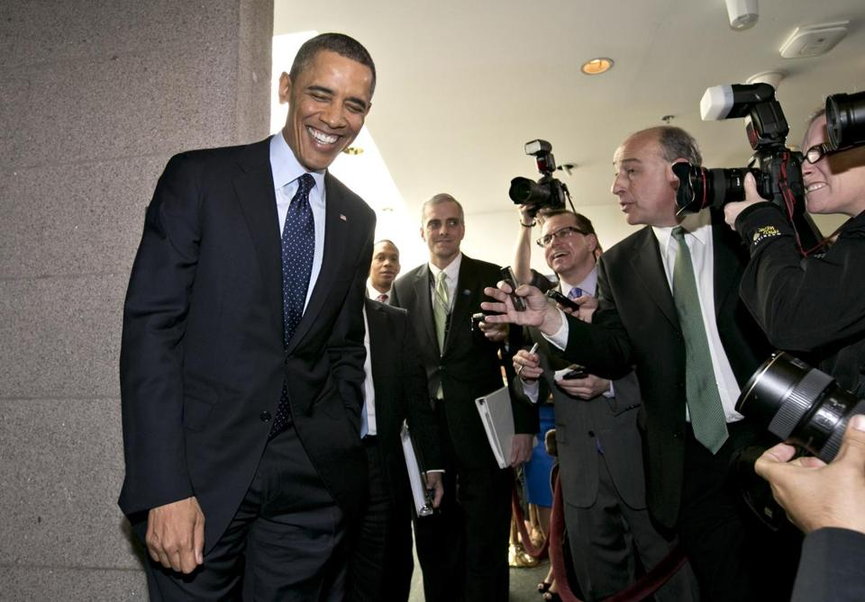 President Barack Obama turned to reporters as he left the Capitol after his closed-door meeting with Speaker of the House John Boehner and Republican lawmakers.