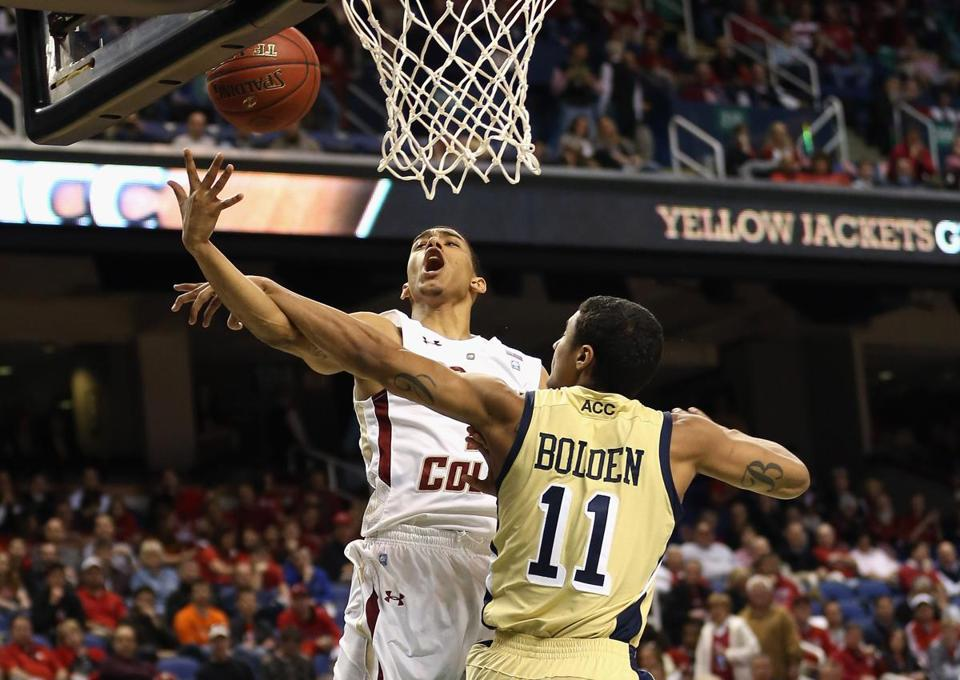 Chris Bolden and Georgia Tech did what they could to slow down BC's Olivier Hanlan.
