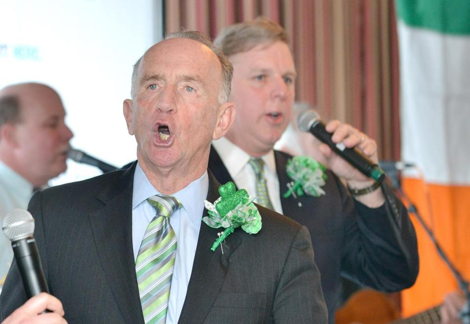 City councilor Bill Linehan sang at the St. Patrick's Day breakfast at Anthony's Pier 4 in Boston. This will be his first time hosting the event.