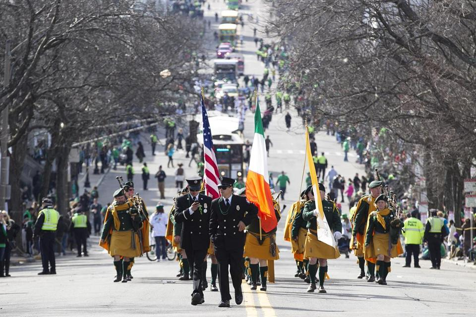 Marchers made their way down crowd-lined East Broadway on Sunday for South Boston's annual St. Patrick's Day parade.