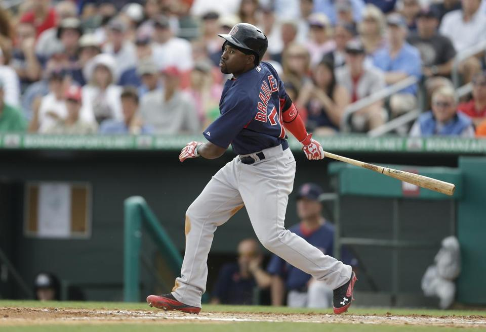 Jackie Bradley, seen in a game against the Marlins on March 11, may be on the Red Sox Opening Day roster.