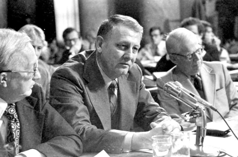 A main conduit between President Johnson and Hoover, Cartha D. DeLoach testified before a Senate panel in 1975.