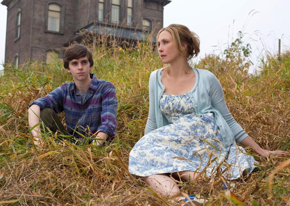 "Freddie Highmore and Vera Farmiga star as Norman and Norma Bates in A&E's new series ""Bates Motel."""