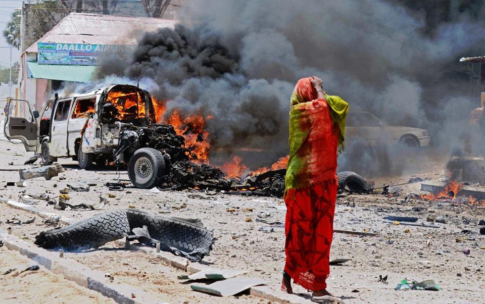 The car bombing in Mogadishu Monday appeared to be targeted at a vehicle carrying Somali intelligence officials.