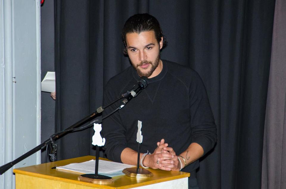 Christopher Abbott accepts the Breakout Award at the Brattle.