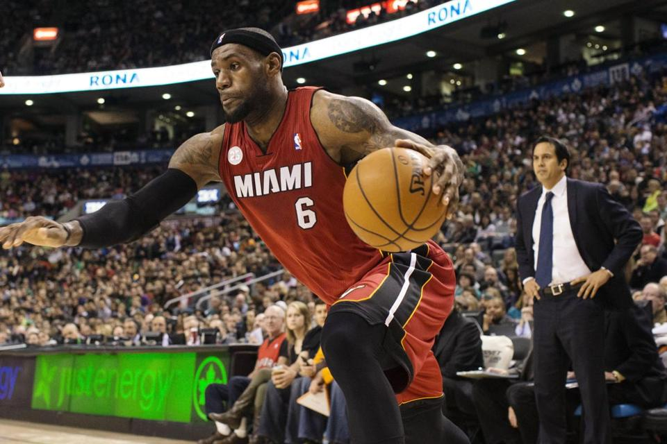 The Heat's LeBron James had 22 points and 12 rebounds against the Raptors.