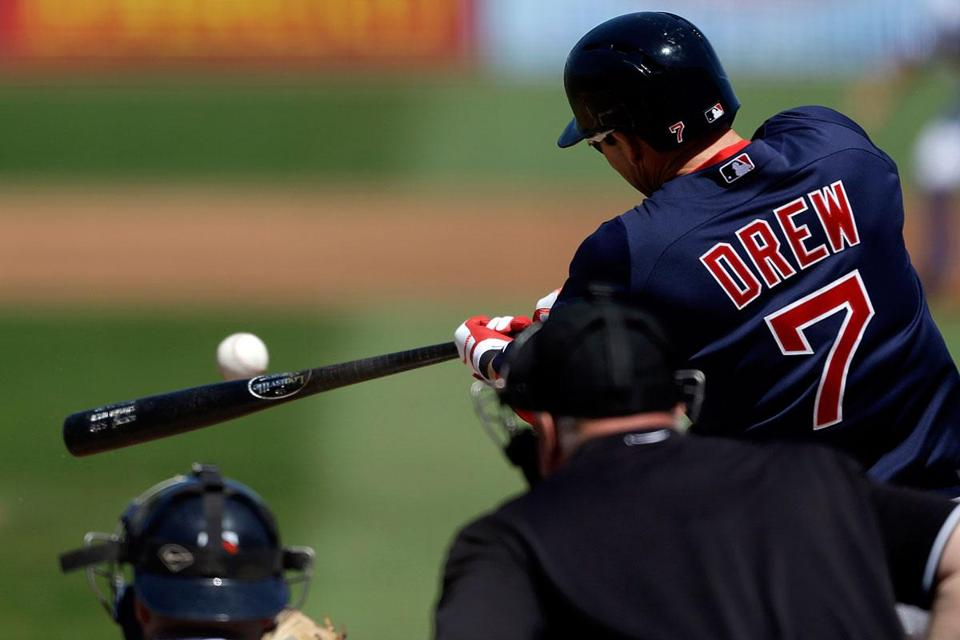 Stephen Drew singles on March 7; he was hit by a pitch in the head later in that game.