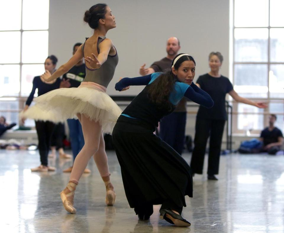 "Erica Cornejo (foreground) rehearses ""The Sleeping Beauty'' with the company at Boston Ballet's South End home."