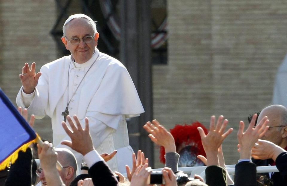 Pope Francis waved to the crowd before his inauguration Mass in St. Peter's Square.