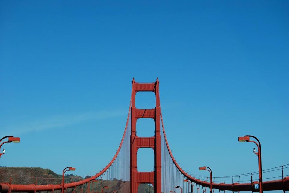 The Golden Gate Bridge's main towers are 746 feet high.