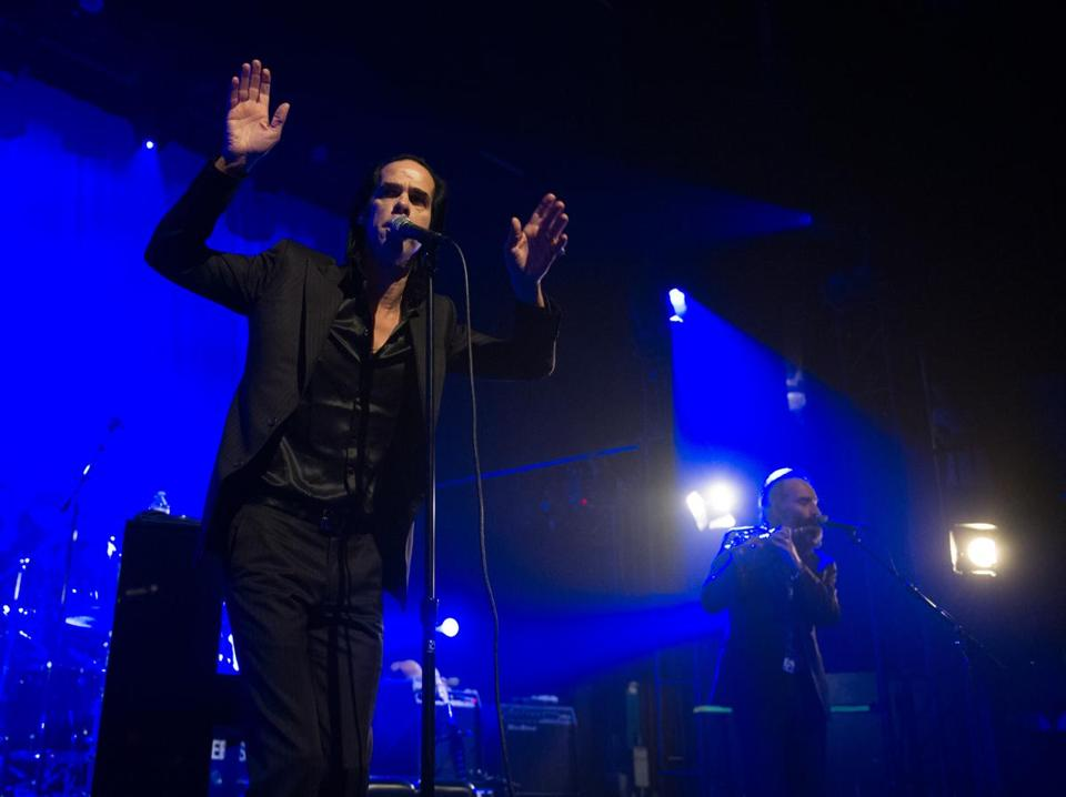Nick Cave and the Bad Seeds (pictured performing last month in Los Angeles) played for a sold-out crowd Sunday.