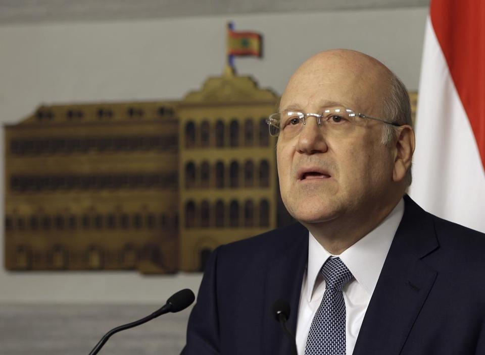 Lebanese Prime Minister Najib Mikati announced his resignation at the government palace, in Beirut, Lebanon, Friday, March 22, 2013.