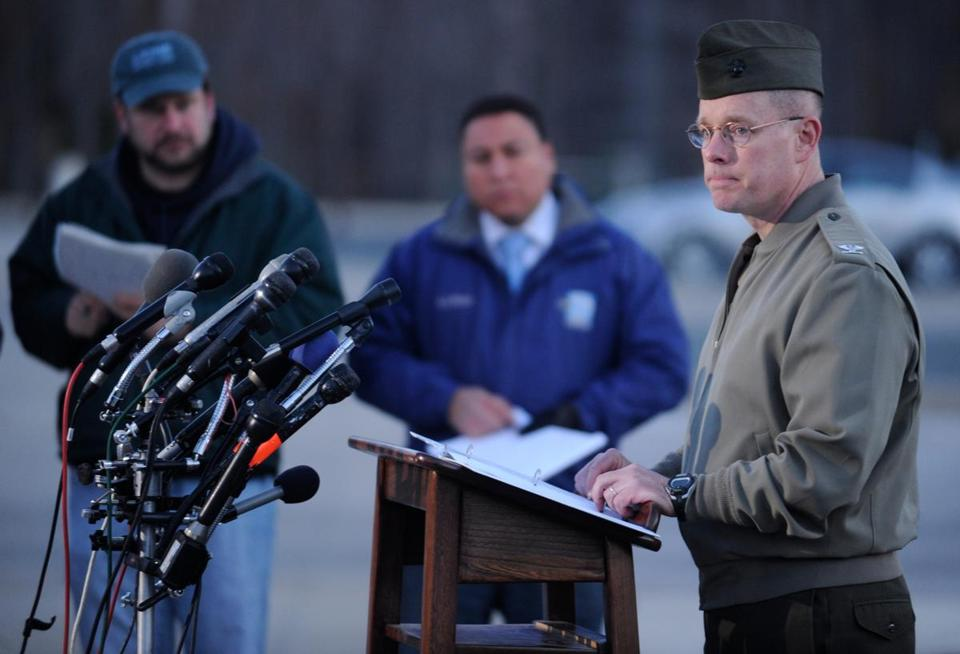Col. David W. Maxwell at a press conference at the Marine Corps Museum in Quantico, Va., on Friday, March 22, 2013 regarding a murder/suicide that occurred on Thursday night.