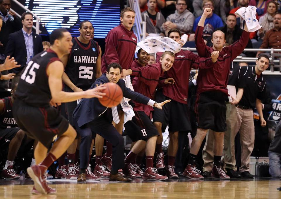 Christian Webster dribbled the ball in the final seconds of the game as the Crimson bench erupted in Salt Lake City.
