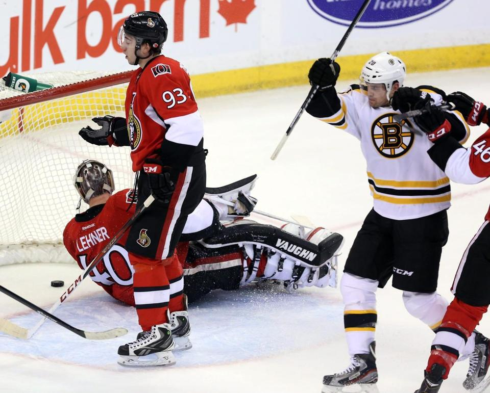 Daniel Paille celebrated his goal as Senators goaltender Robin Lehner and Mika Zibanejad looked on during the second period.