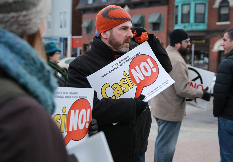 Todd Antonellis was among the protesters in East Boston's Maverick Square on Saturday who are opposed to a casino.