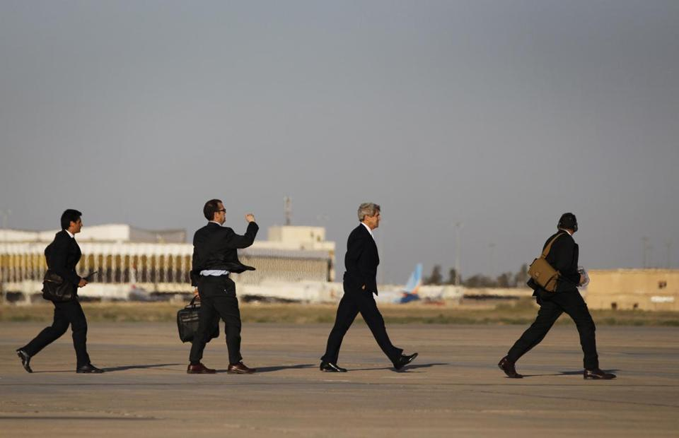 Secretary of State John Kerry left Baghdad on Sunday after a visit that emphasized US concern over the arms shipments.