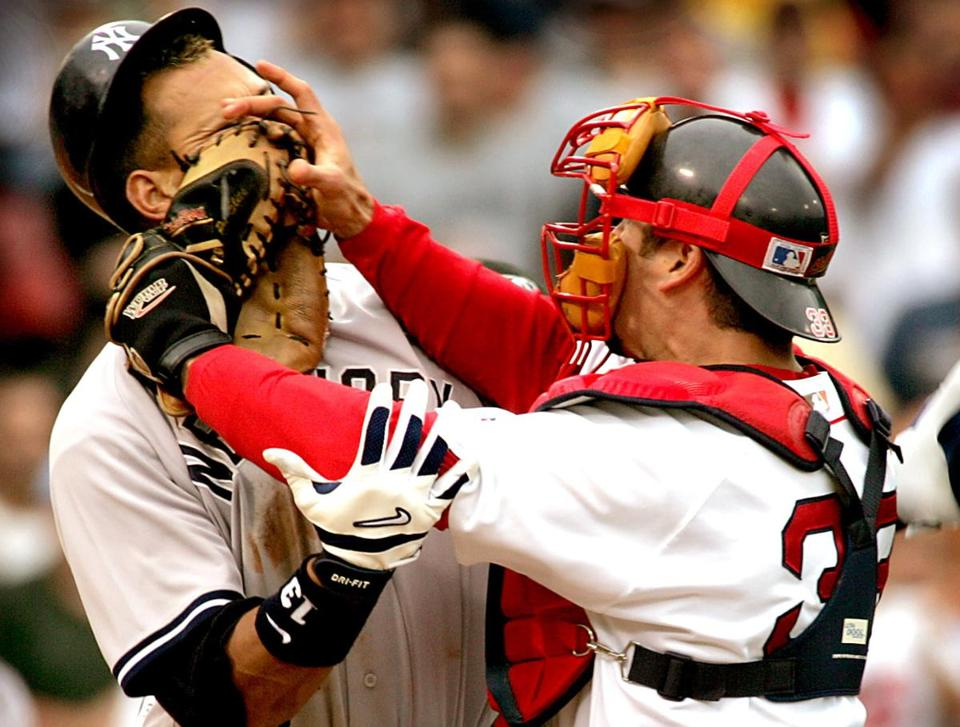 Alex Rodriguez of the Yankees and Red Sox catcher Jason Varitek traded blows in 2004.