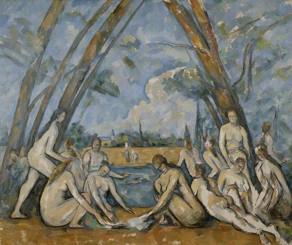 "Paul Cezanne's ""The Large Bathers"" (1906), on loan from the Philadelphia Museum of Art."