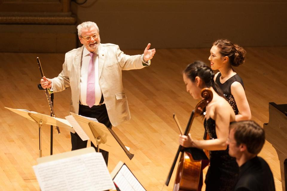 Sir James Galway at Symphony Hall, where he shared the stage with his flutist wife, a quintet of strings, and a pianist.