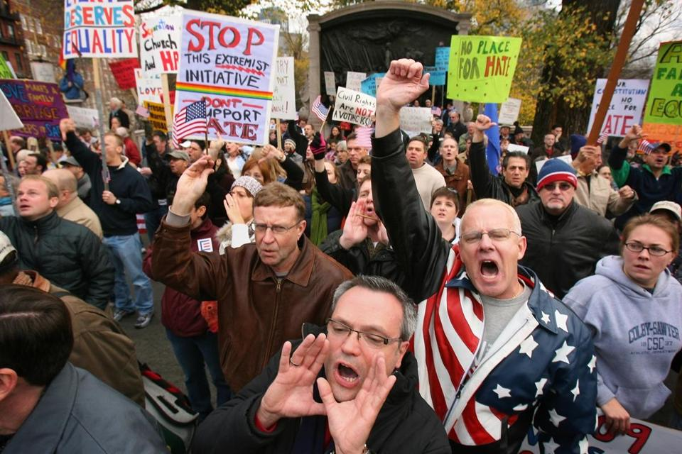 Demonstrators shouted their support for gay rights at a rally at the Mass. statehouse on Nov. 19, 2006.