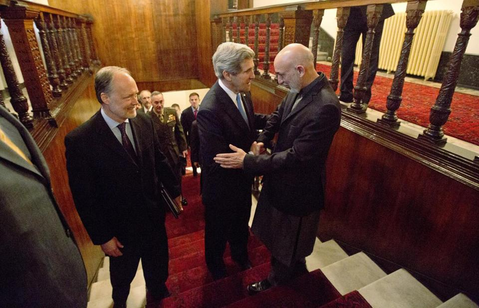 Secretary of State John Kerry and Hamid Karzai, Afghan president, met Monday at the presidential palace in Kabul.