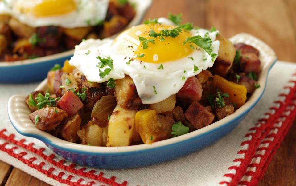 Ham and golden potato hash.