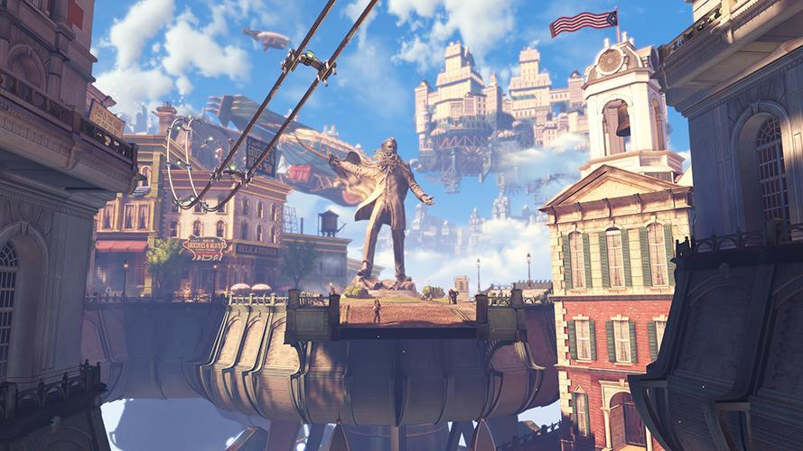 A scene from the video game BioShock Infinite.